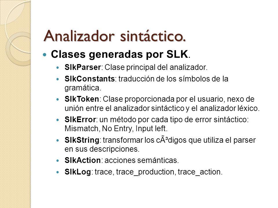 Analizador sintáctico. Clases generadas por SLK. SlkParser: Clase principal del analizador. SlkConstants: traducción de los símbolos de la gramática.