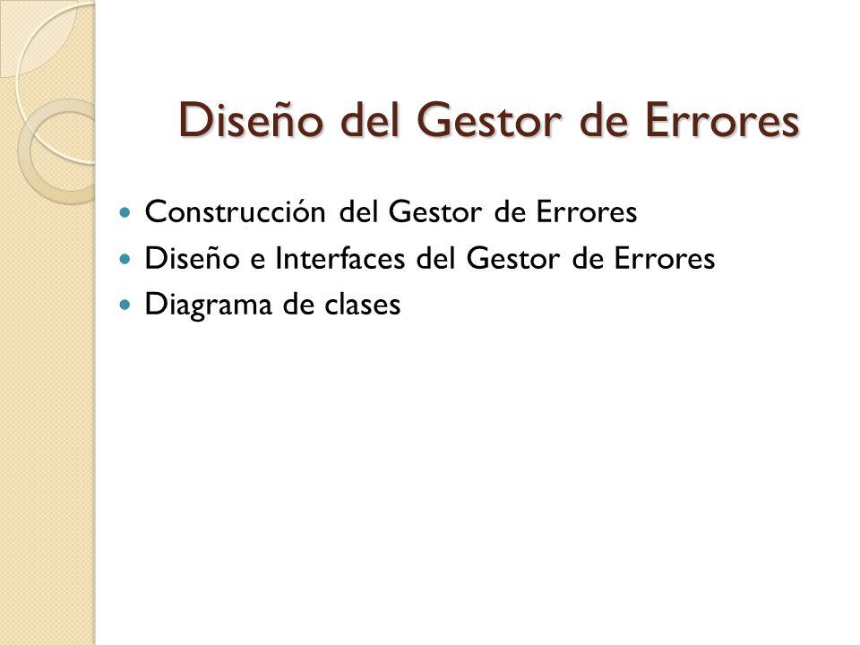 Diseño del Gestor de Errores Construcción del Gestor de Errores Diseño e Interfaces del Gestor de Errores Diagrama de clases