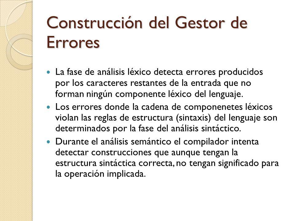 Construcción del Gestor de Errores La fase de análisis léxico detecta errores producidos por los caracteres restantes de la entrada que no forman ning