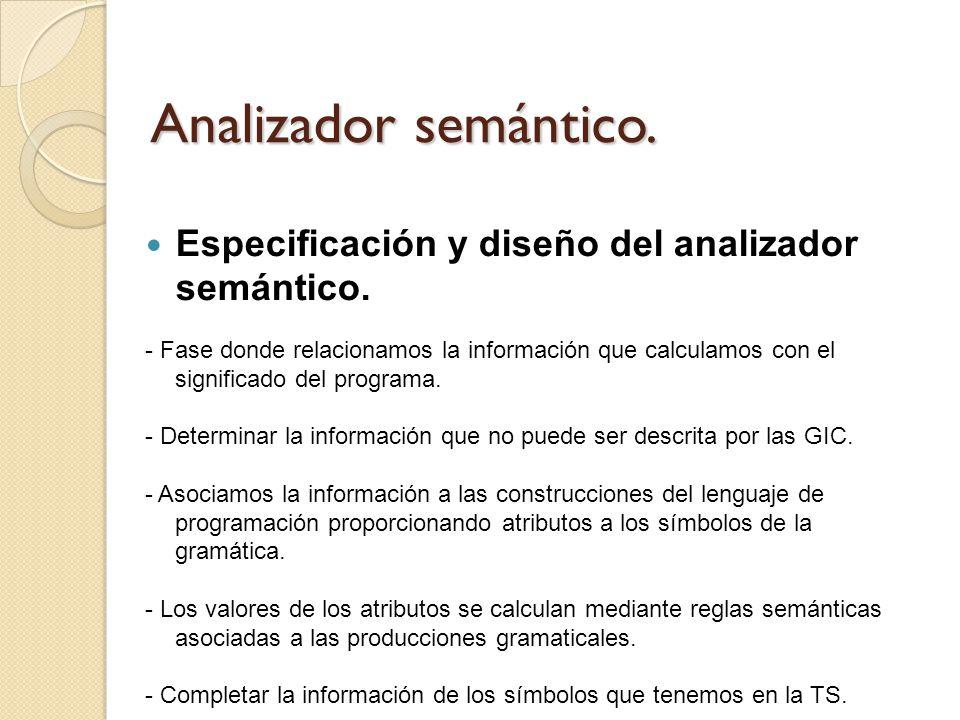 Analizador semántico. Especificación y diseño del analizador semántico. - Fase donde relacionamos la información que calculamos con el significado del