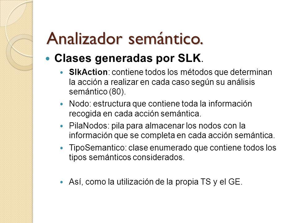 Analizador semántico. Clases generadas por SLK. SlkAction: contiene todos los métodos que determinan la acción a realizar en cada caso según su anális