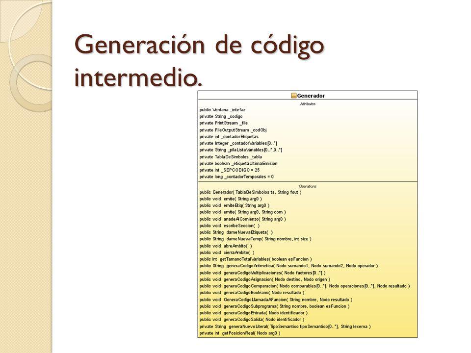 Generación de código intermedio.