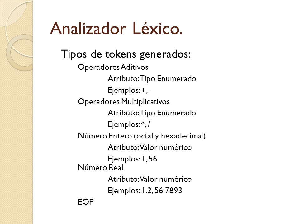 Analizador Léxico. Tipos de tokens generados: Operadores Aditivos Atributo: Tipo Enumerado Ejemplos: +, - Operadores Multiplicativos Atributo: Tipo En