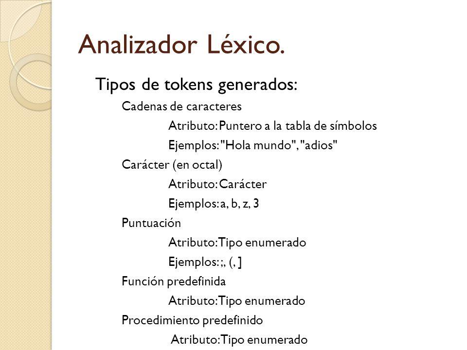 Analizador Léxico. Tipos de tokens generados: Cadenas de caracteres Atributo: Puntero a la tabla de símbolos Ejemplos: