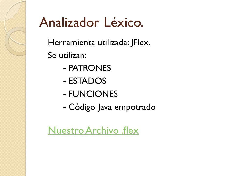 Analizador Léxico. Herramienta utilizada: JFlex. Se utilizan: - PATRONES - ESTADOS - FUNCIONES - Código Java empotrado Nuestro Archivo.flex