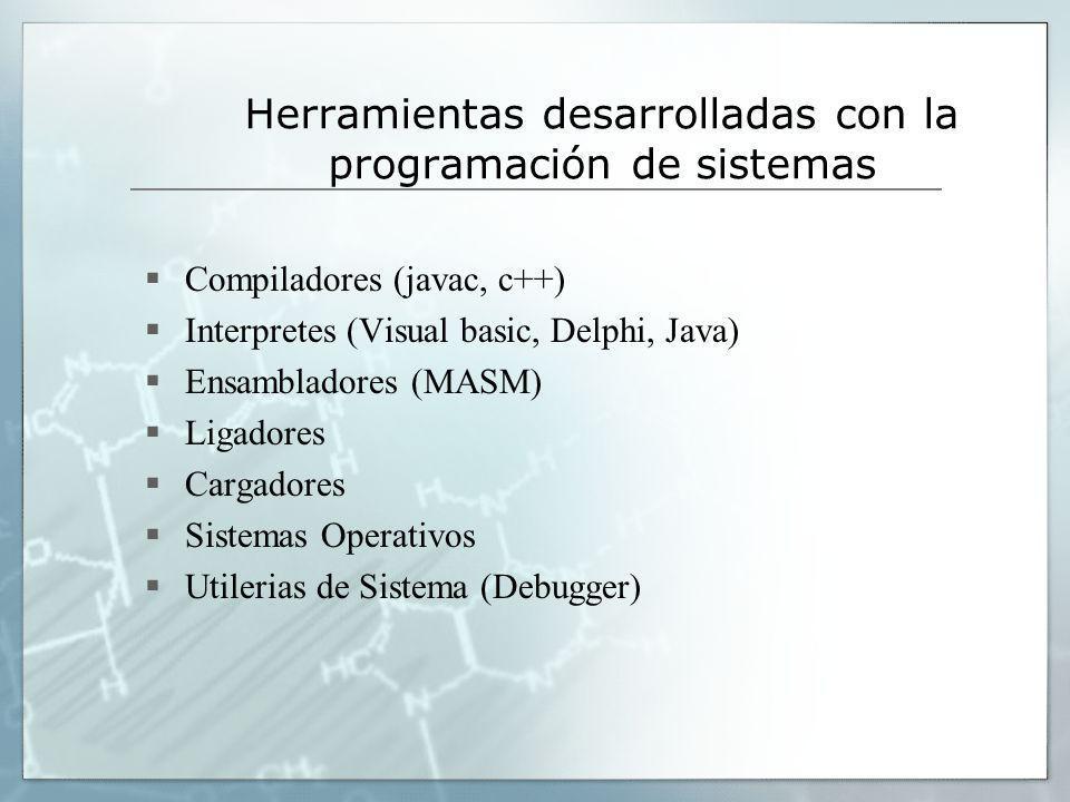 Herramientas desarrolladas con la programación de sistemas Compiladores (javac, c++) Interpretes (Visual basic, Delphi, Java) Ensambladores (MASM) Lig