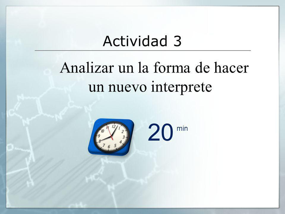 Actividad 3 Analizar un la forma de hacer un nuevo interprete 20 min