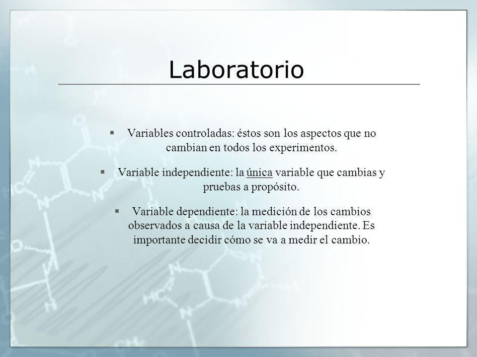 Laboratorio Variables controladas: éstos son los aspectos que no cambian en todos los experimentos. Variable independiente: la única variable que camb
