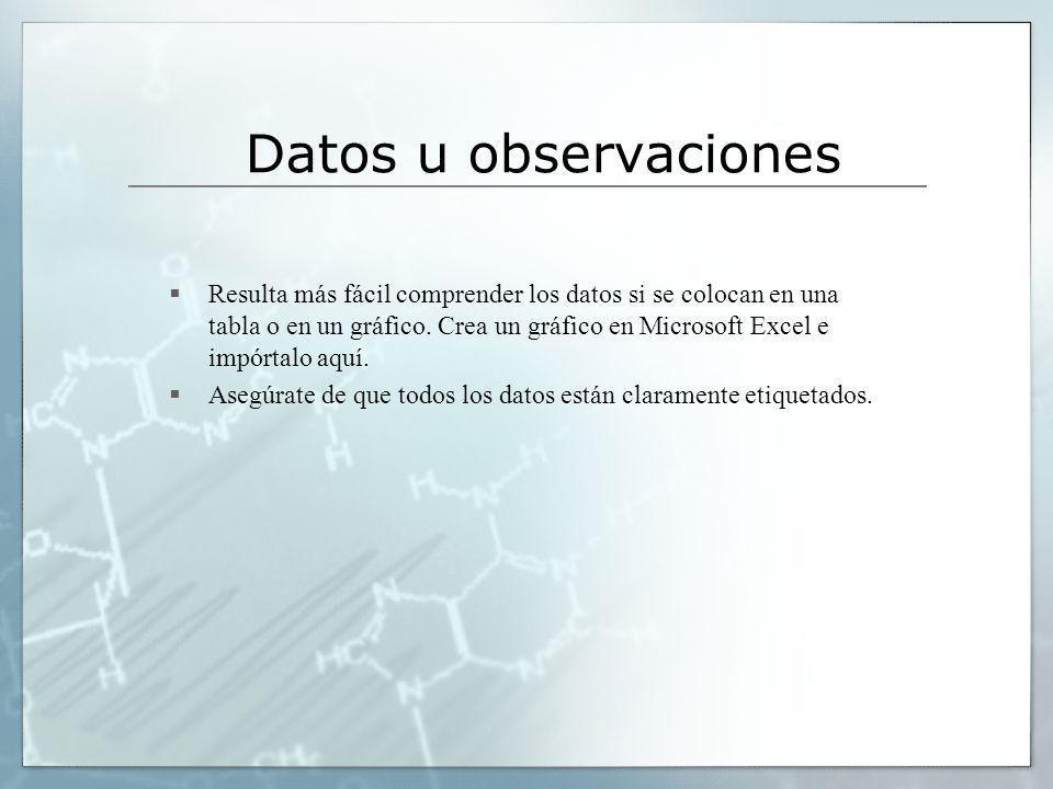 Datos u observaciones Resulta más fácil comprender los datos si se colocan en una tabla o en un gráfico. Crea un gráfico en Microsoft Excel e impórtal
