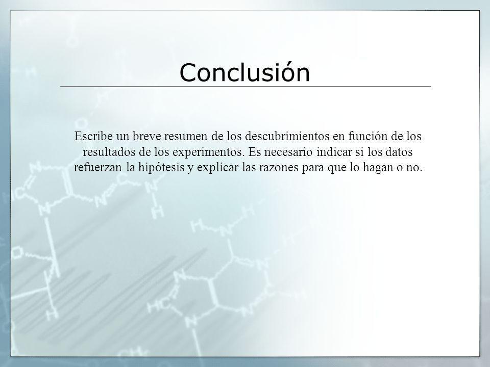 Conclusión Escribe un breve resumen de los descubrimientos en función de los resultados de los experimentos. Es necesario indicar si los datos refuerz