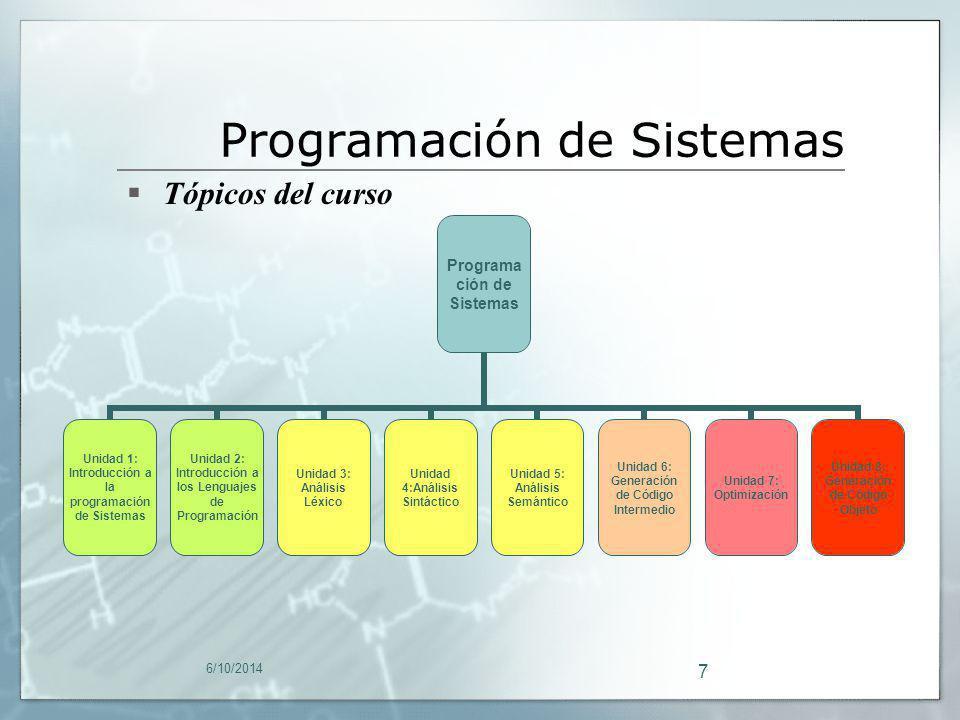 6/10/2014 7 Tópicos del curso Programación de Sistemas Unidad 1: Introducción a la programación de Sistemas Unidad 2: Introducción a los Lenguajes de