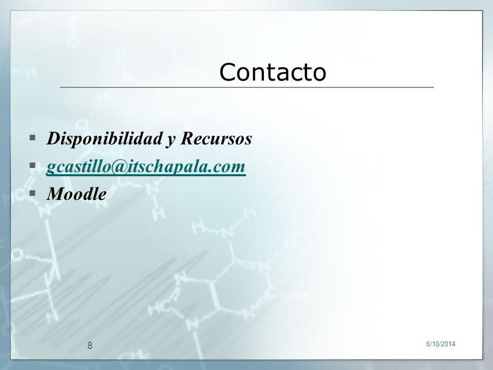 6/10/2014 8 Disponibilidad y Recursos gcastillo@itschapala.com Moodle Contacto