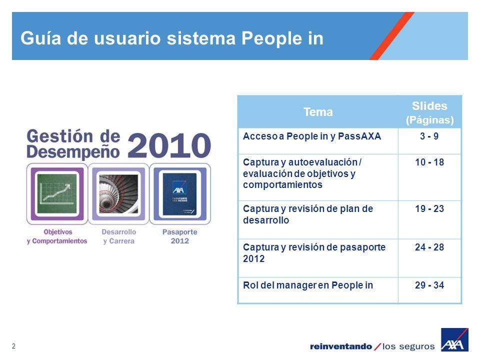 2 Tema Slides (Páginas) Acceso a People in y PassAXA3 - 9 Captura y autoevaluación / evaluación de objetivos y comportamientos 10 - 18 Captura y revis