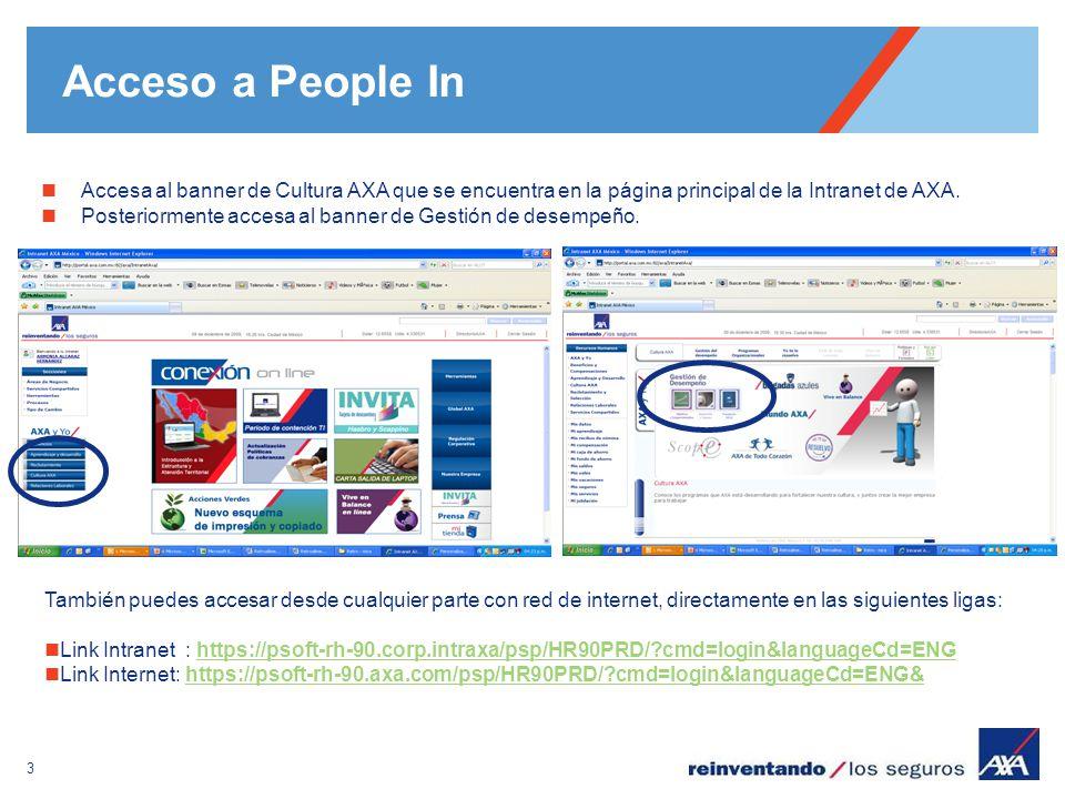 3 Acceso a People In Accesa al banner de Cultura AXA que se encuentra en la página principal de la Intranet de AXA. Posteriormente accesa al banner de