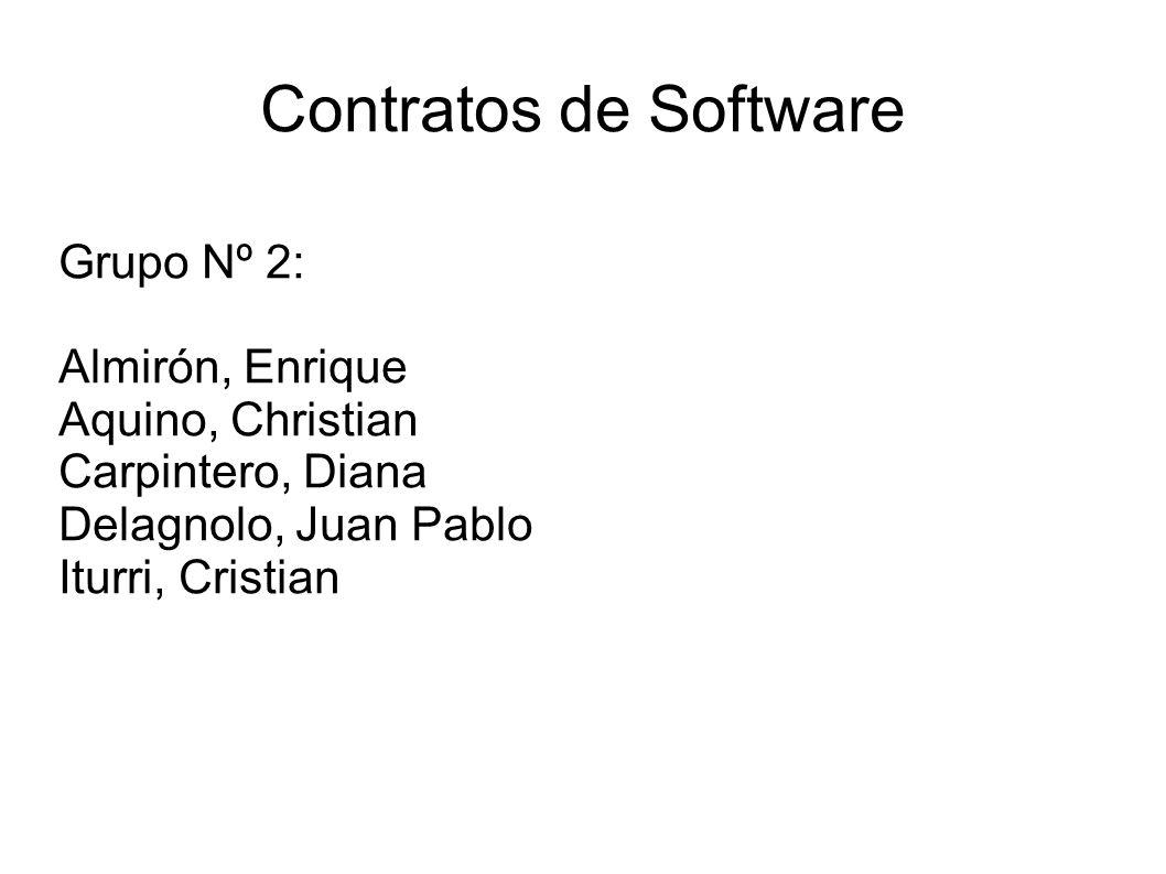 Contratos de Software Grupo Nº 2: Almirón, Enrique Aquino, Christian Carpintero, Diana Delagnolo, Juan Pablo Iturri, Cristian