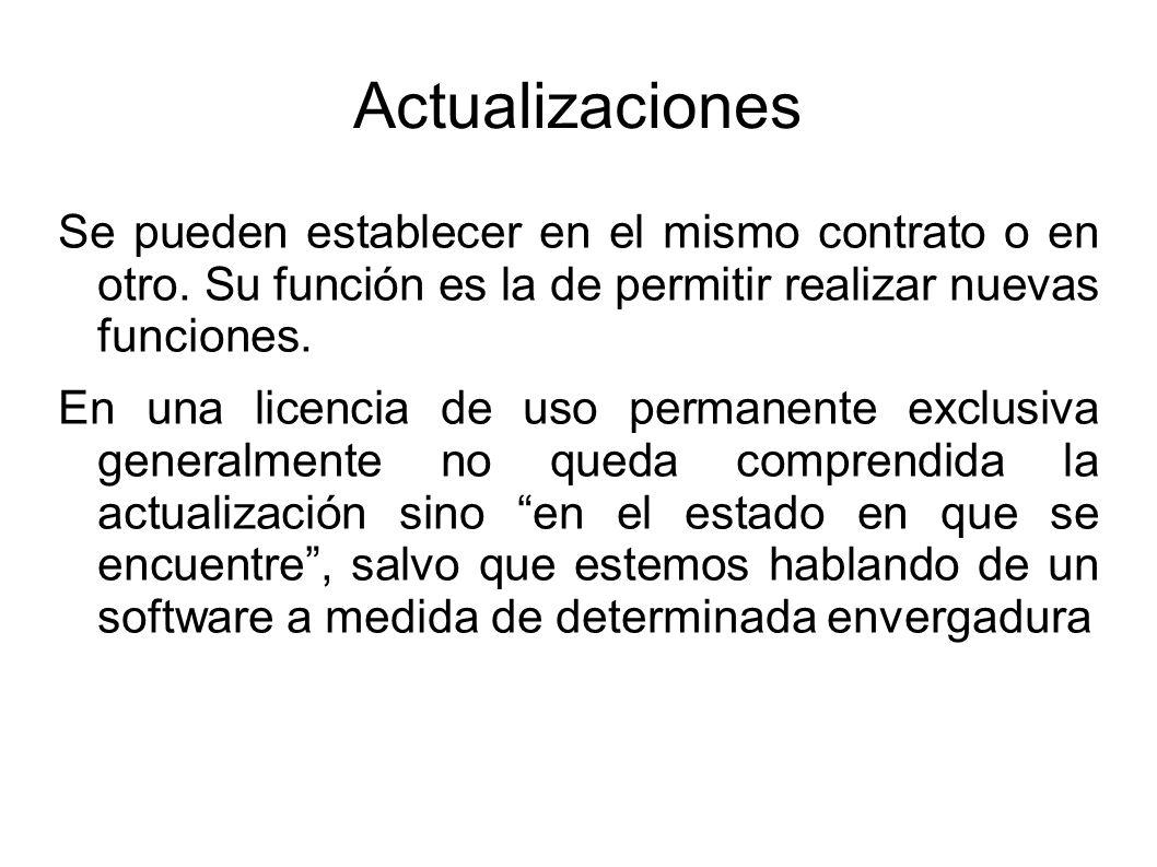 Actualizaciones Se pueden establecer en el mismo contrato o en otro.