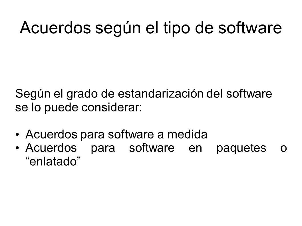 Acuerdos según el tipo de software Según el grado de estandarización del software se lo puede considerar: Acuerdos para software a medida Acuerdos para software en paquetes o enlatado