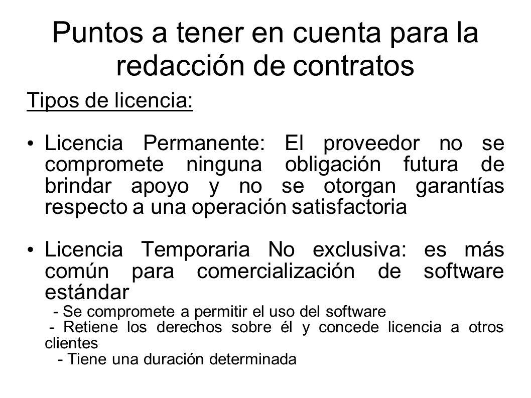 Tipos de Acuerdos – Contratos de Adhesión preimpresos (en el caso de los paquetes de software) – Contratos mas libremente negociados por las partes (para el caso de software a medida)
