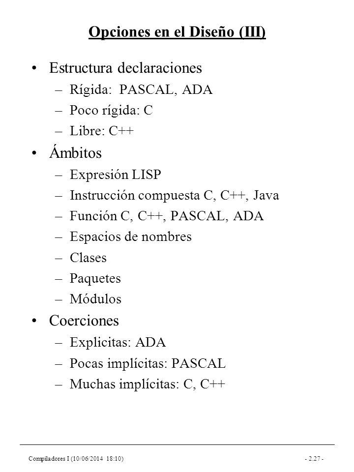 Compiladores I (10/06/2014 18:10)- 2.27 - Opciones en el Diseño (III) Estructura declaraciones –Rígida: PASCAL, ADA –Poco rígida: C –Libre: C++ Ámbitos –Expresión LISP –Instrucción compuesta C, C++, Java –Función C, C++, PASCAL, ADA –Espacios de nombres –Clases –Paquetes –Módulos Coerciones –Explicitas: ADA –Pocas implícitas: PASCAL –Muchas implícitas: C, C++