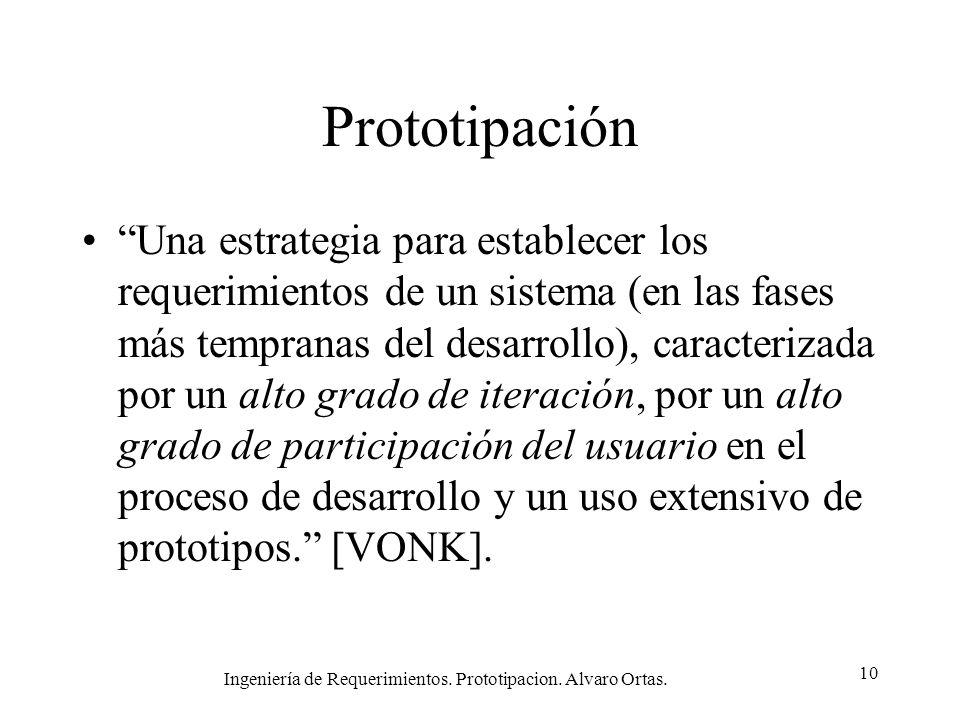 Ingeniería de Requerimientos. Prototipacion. Alvaro Ortas. 10 Prototipación Una estrategia para establecer los requerimientos de un sistema (en las fa