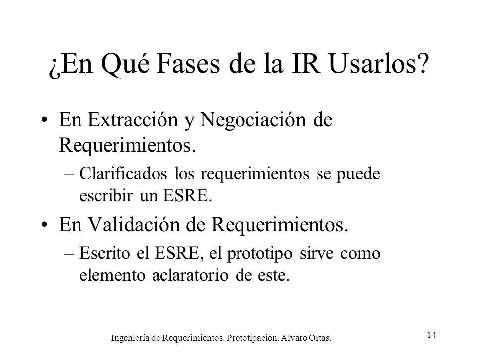Ingeniería de Requerimientos. Prototipacion. Alvaro Ortas. 14 ¿En Qué Fases de la IR Usarlos? En Extracción y Negociación de Requerimientos. –Clarific