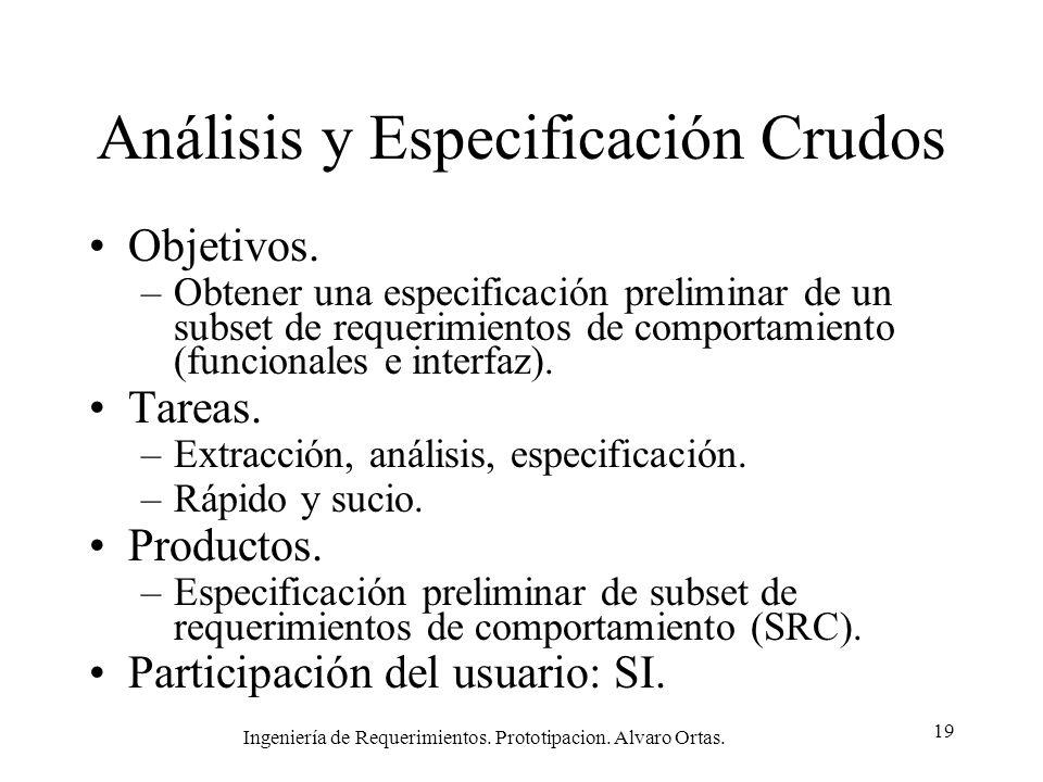 Ingeniería de Requerimientos. Prototipacion. Alvaro Ortas. 19 Análisis y Especificación Crudos Objetivos. –Obtener una especificación preliminar de un