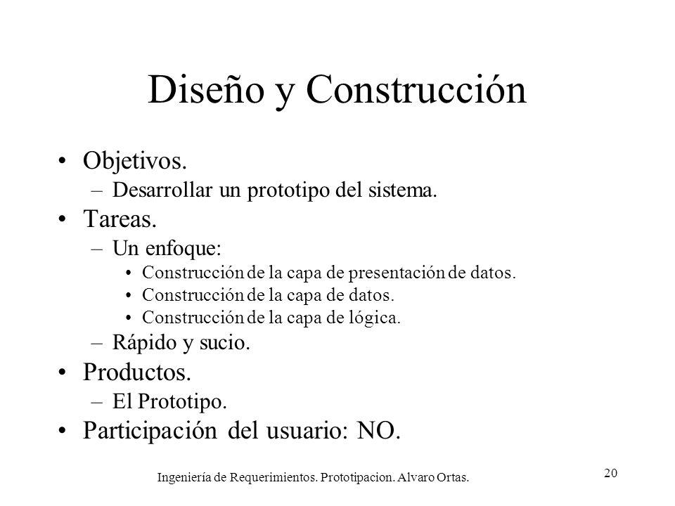 Ingeniería de Requerimientos. Prototipacion. Alvaro Ortas. 20 Diseño y Construcción Objetivos. –Desarrollar un prototipo del sistema. Tareas. –Un enfo
