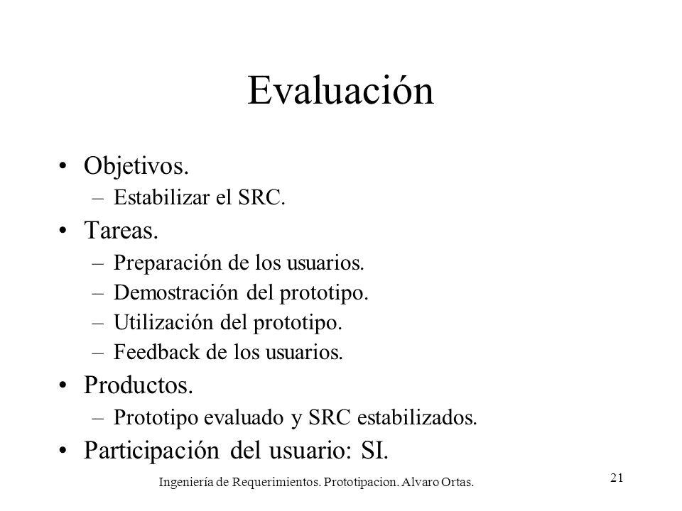 Ingeniería de Requerimientos. Prototipacion. Alvaro Ortas. 21 Evaluación Objetivos. –Estabilizar el SRC. Tareas. –Preparación de los usuarios. –Demost