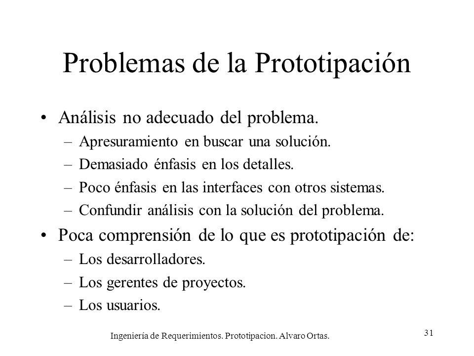 Ingeniería de Requerimientos. Prototipacion. Alvaro Ortas. 31 Problemas de la Prototipación Análisis no adecuado del problema. –Apresuramiento en busc
