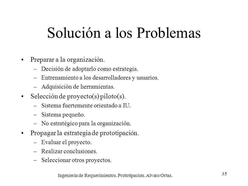 Ingeniería de Requerimientos. Prototipacion. Alvaro Ortas. 35 Solución a los Problemas Preparar a la organización. –Decisión de adoptarlo como estrate