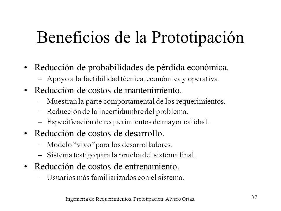 Ingeniería de Requerimientos. Prototipacion. Alvaro Ortas. 37 Beneficios de la Prototipación Reducción de probabilidades de pérdida económica. –Apoyo