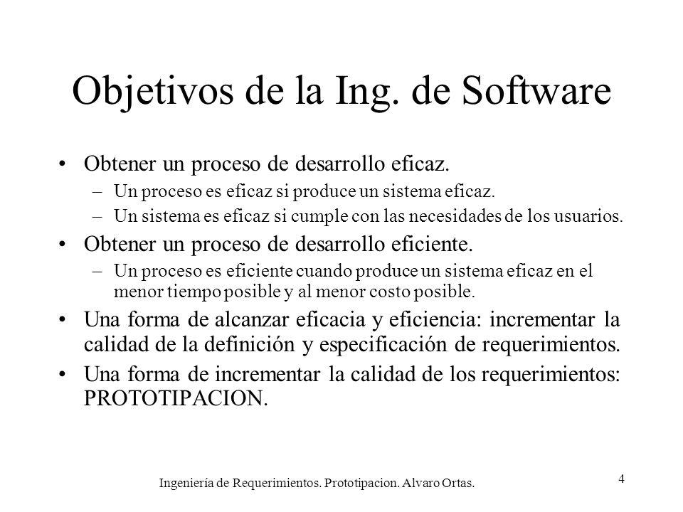 Ingeniería de Requerimientos. Prototipacion. Alvaro Ortas. 4 Objetivos de la Ing. de Software Obtener un proceso de desarrollo eficaz. –Un proceso es