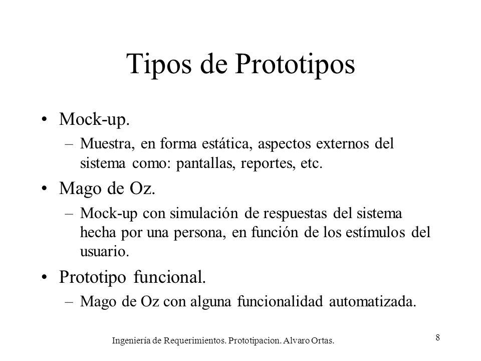 Ingeniería de Requerimientos. Prototipacion. Alvaro Ortas. 8 Tipos de Prototipos Mock-up. –Muestra, en forma estática, aspectos externos del sistema c