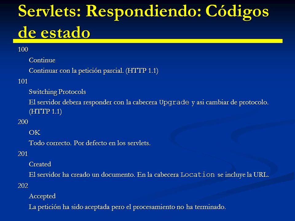 Servlets: Respondiendo: Códigos de estado 203 Non-Authoritative Information El documento ha sido devuelto correctamente pero alguna cabecera es incorrecta (HTTP 1.1) 204 No Content No hay nuevo documento.