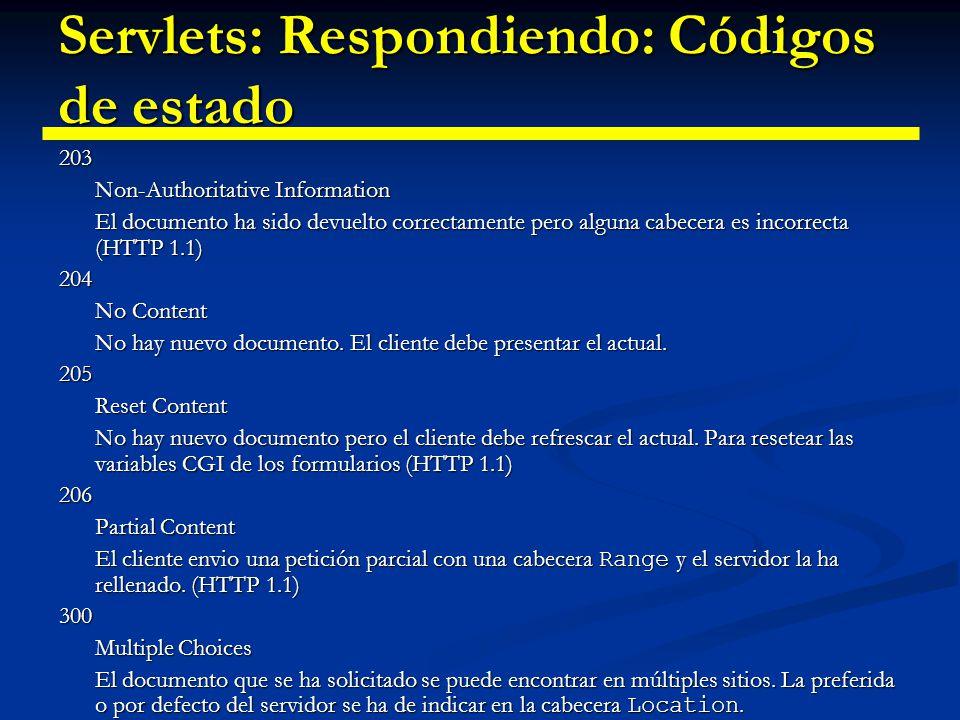 Servlets: Respondiendo: Códigos de estado 301 Moved Permanently El documento solicitado está en otro sitio.