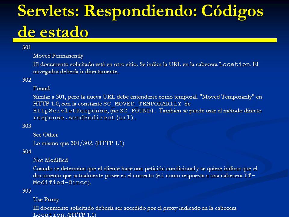 Servlets: Respondiendo: Códigos de estado 307 Temporary Redirect Identico a 302.
