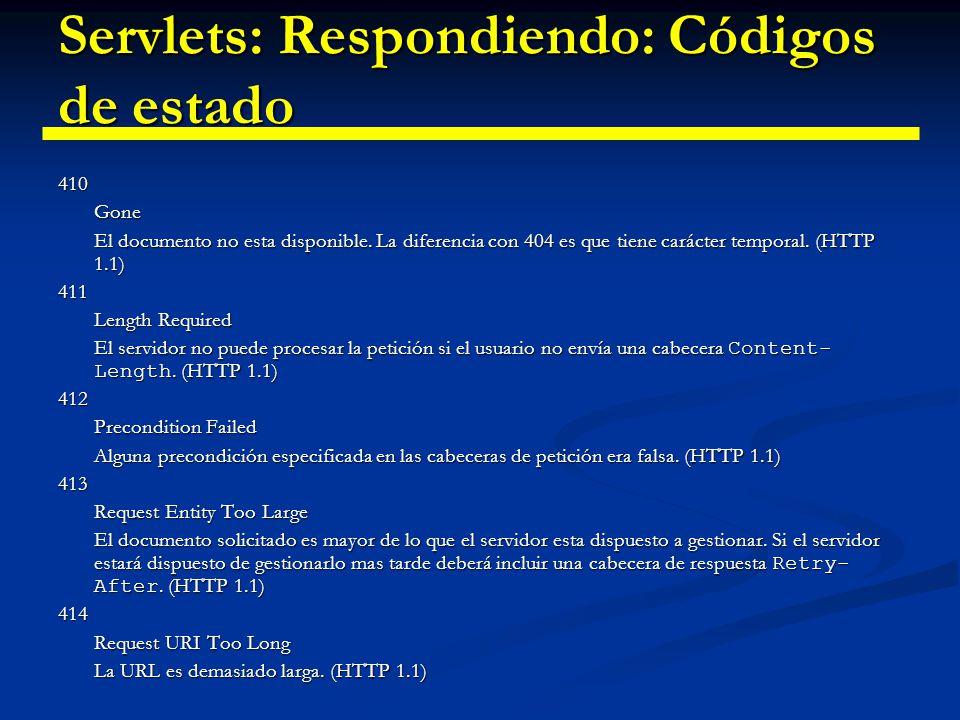 Servlets: Respondiendo: Códigos de estado 415 Unsupported Media Type La petición esta en un formato desconocido.