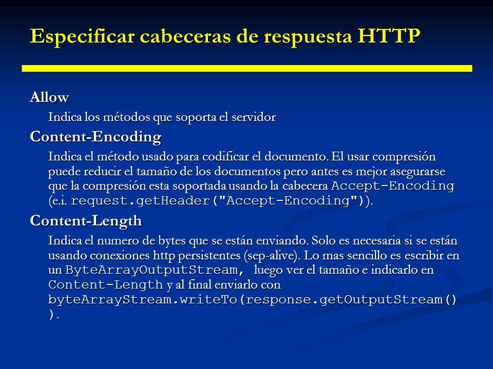 Especificar cabeceras de respuesta HTTP Content-Type Indica el tipo de codificación MIME del documento.