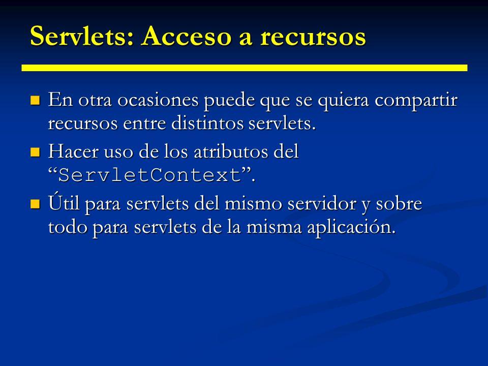 Servlets: Acceso a recursos CONVENCIÓN PARA NOMBRES DE ATRIBUTOS: Se suele usar la misma nomenclatura usada para los paquetes para evitar conflictos.