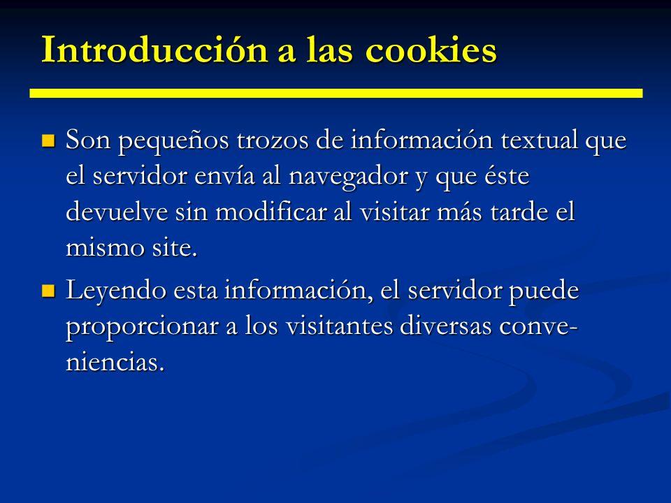 Introducción a las cookies ¿Qué podemos hacer utilizando cookies.