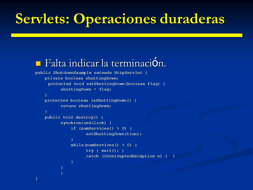 Recuperando Configuración Recuperando información de configuración del fichero web.xml Recuperando información de configuración del fichero web.xml<servlet> ConfigDemoServletExample ConfigDemoServletExample ConfigDemoServlet ConfigDemoServlet adminEmail adminEmail dipina@ilargi.org dipina@ilargi.org adminContactNumber adminContactNumber 6542214213 6542214213