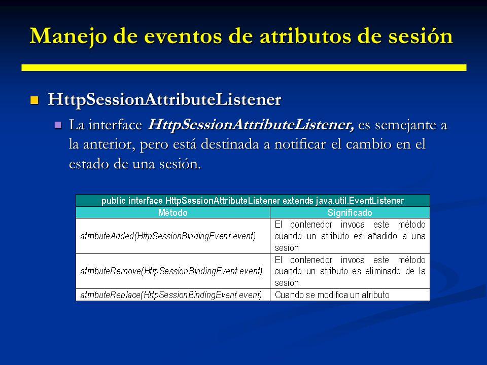 Manejo de eventos de atributos de sesión La clase HttpSessionBindingEvent La clase HttpSessionBindingEvent Representa los eventos de vinculación y desvinculación de sesión.