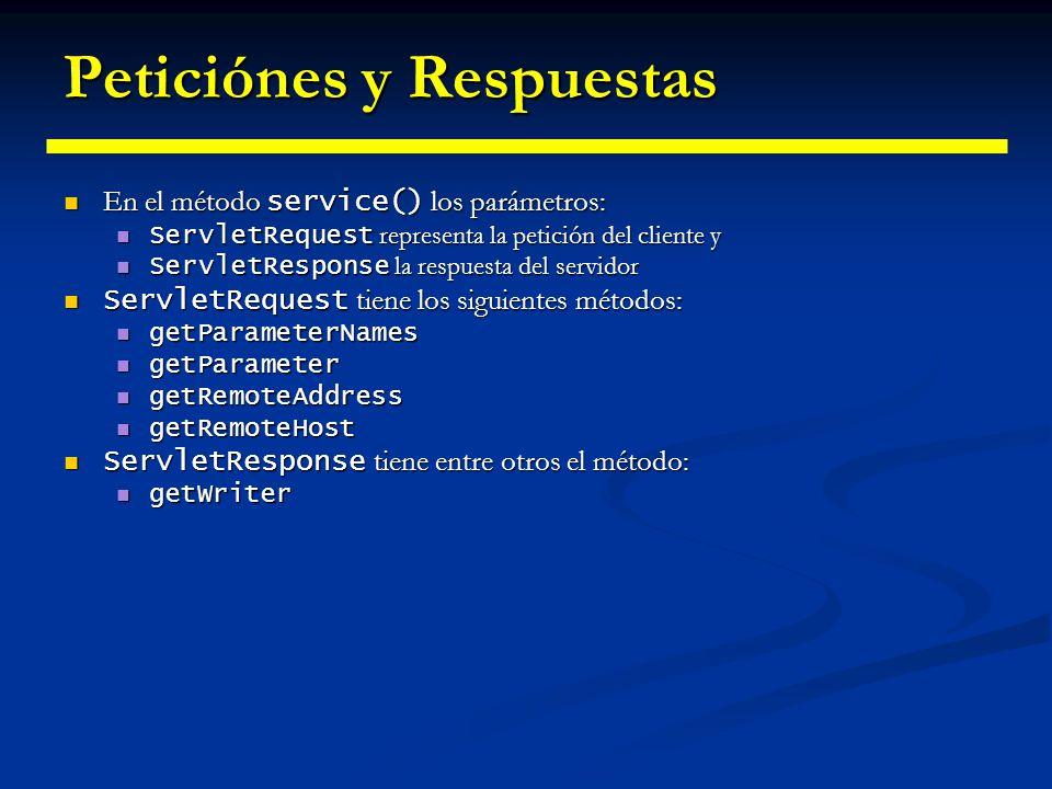 Clase GenericServlet El uso de la interfaz Servlet tiene dos inconvenientes: El uso de la interfaz Servlet tiene dos inconvenientes: Hay que proveer implementaciones de los cinco métodos de Servlet Hay que proveer implementaciones de los cinco métodos de Servlet Hay que cachear la referencia a ServletConfig pasada como parámetro Hay que cachear la referencia a ServletConfig pasada como parámetro La clase GenericServlet provee una implementación vacía de los 5 métodos de Servlet y recuerda ServletConfig La clase GenericServlet provee una implementación vacía de los 5 métodos de Servlet y recuerda ServletConfig