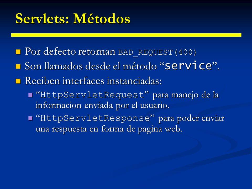 Estructura básica de un servlet Ejemplo de un servlet básico Ejemplo de un servlet básico import java.io.*; import javax.servlet.*; import javax.servlet.http.*; public class SomeServlet extends HttpServlet { public void doGet(HttpServletRequest request, HttpServletResponse response) throws ServletException, IOException {