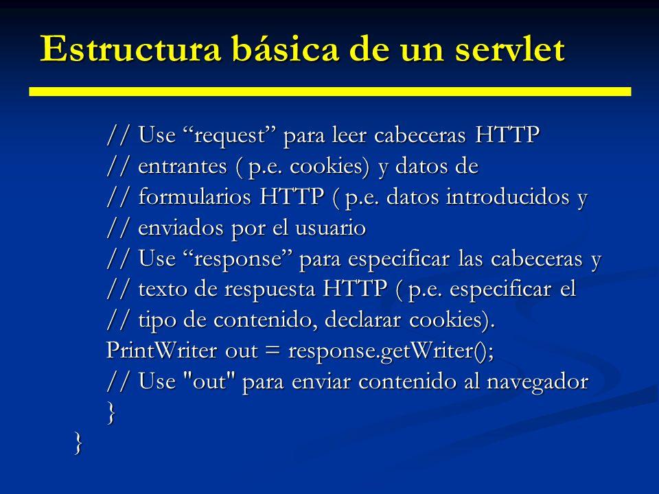 Estructura básica de un servlet Un servlet extiende a la clase HttpServlet Un servlet extiende a la clase HttpServlet Sobreescribimos: Sobreescribimos: doGet() para procesar peticiones hechas con GET doGet() para procesar peticiones hechas con GET doPost() para procesar peticiones hechas con POST doPost() para procesar peticiones hechas con POST Parámetros utilizados: Parámetros utilizados: HttpServletRequest HttpServletRequest HttpServletResponse HttpServletResponse La mayor parte del esfuerzo se gasta en senten- cias println que generan la página deseada La mayor parte del esfuerzo se gasta en senten- cias println que generan la página deseada