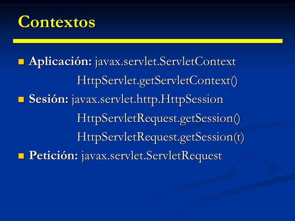 Contextos Los contextos pueden guardar información en atributos (un mapa de asociación) mediante los métodos Los contextos pueden guardar información en atributos (un mapa de asociación) mediante los métodos Object getAttribute(String) void setAttribute(String, Object) El contexto de aplicación se pierde si el servidor se apaga.