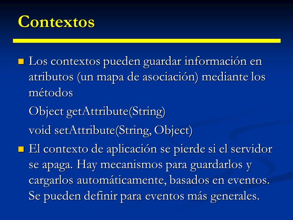 Servlets Servlet RequestResponse Session PrintWriter (atributos) (parámetros) EncodeURL RequestURL RemoteAddr ServletContext (atributos) RequestDispatcher include(…)forward(…) (atributos) (parámetros)