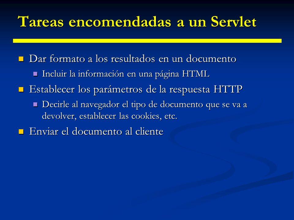Cuándo y por qué usar Servlets Muchas peticiones desde navegador se satisfacen retornando documentos HTML estáticos, es decir, que están en ficheros Muchas peticiones desde navegador se satisfacen retornando documentos HTML estáticos, es decir, que están en ficheros En ciertos casos, es necesario generar las páginas HTML para cada petición: En ciertos casos, es necesario generar las páginas HTML para cada petición: Página Web basada en datos enviados por el cliente Página Web basada en datos enviados por el cliente Motores de búsqueda, confirmación de pedidos Motores de búsqueda, confirmación de pedidos Página Web derivada de datos que cambian con frecuencia Página Web derivada de datos que cambian con frecuencia Informe del tiempo o noticias de última hora Informe del tiempo o noticias de última hora Página Web que usa información de bases de datos corporativas u otras fuentes del la parte del servidor Página Web que usa información de bases de datos corporativas u otras fuentes del la parte del servidor Comercio electrónico: precios y disponibilidades Comercio electrónico: precios y disponibilidades