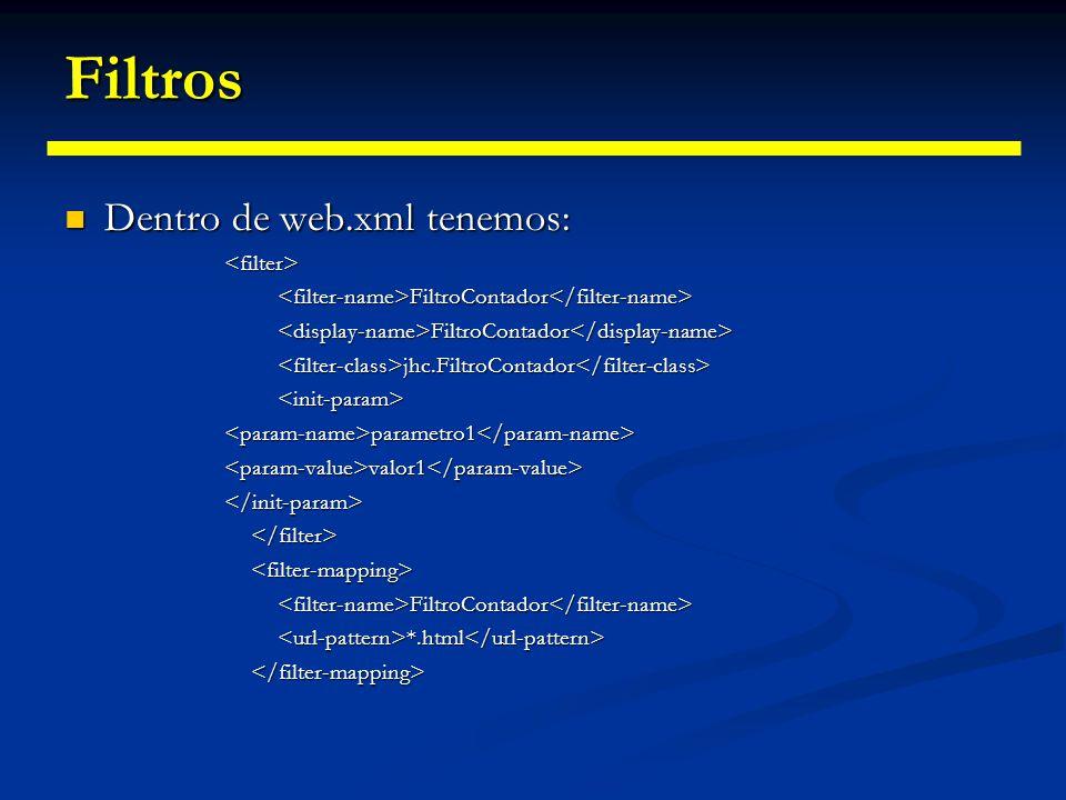 Filtros La primera directiva es la que especifica el filtro dentro del descriptor.