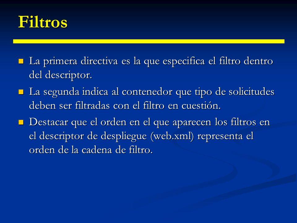 La API de Filtros javax.servlet.Filter javax.servlet.Filter